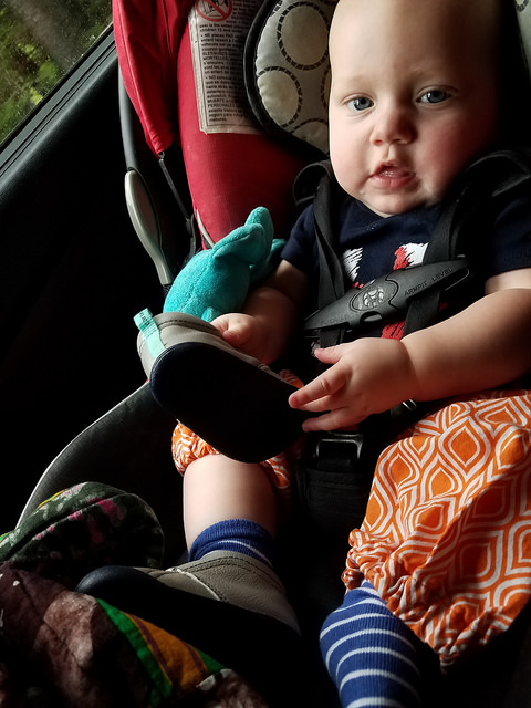 cute baby in the car seat - reviewing the cosco scenera car seat