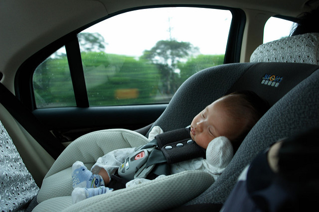 sleeping baby in the reverse carseat